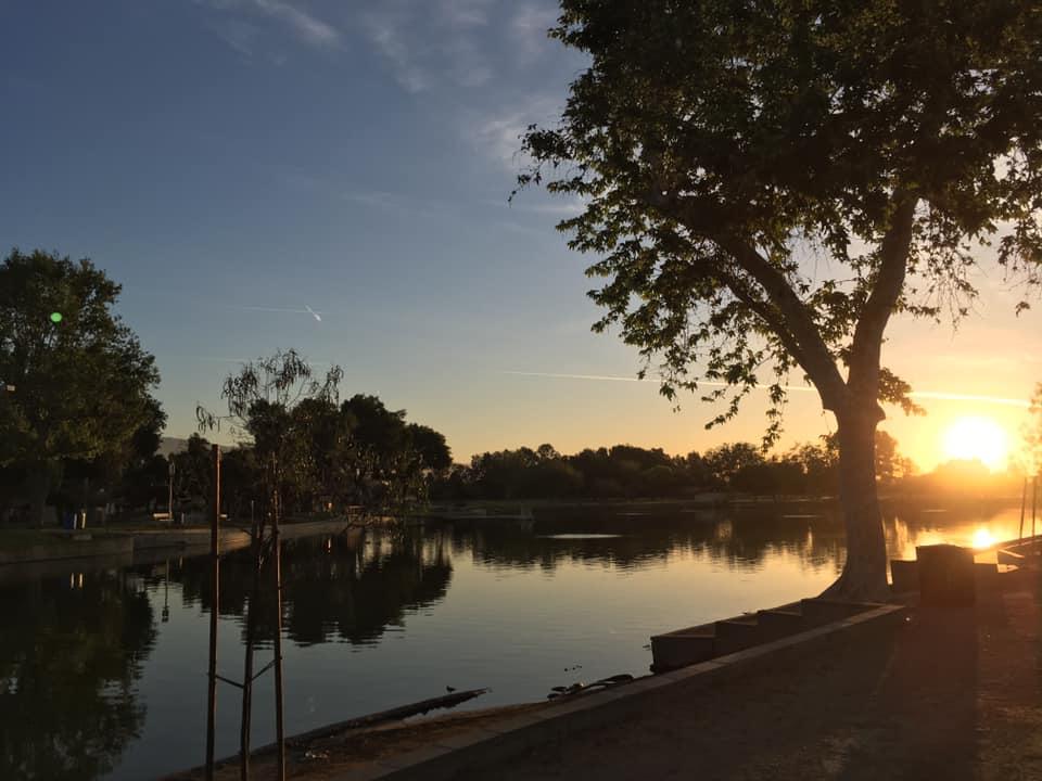 Sunset over Guasti lake