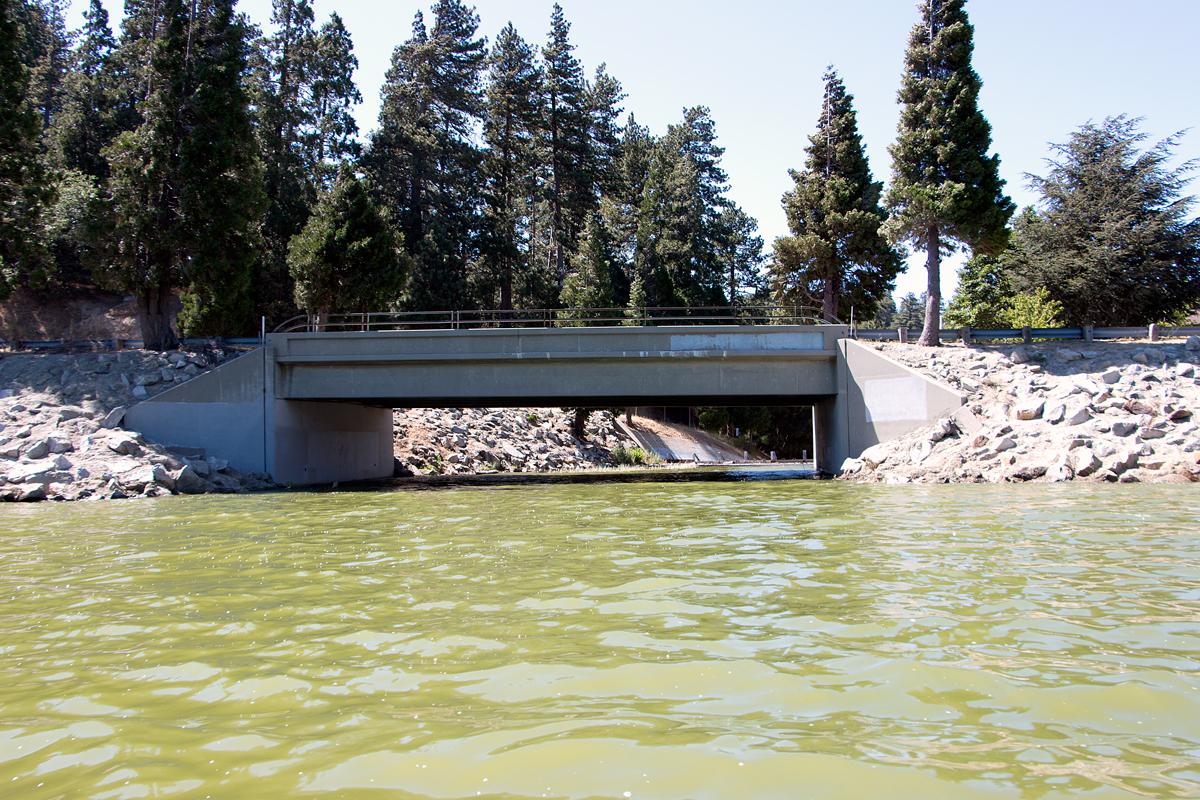 Bridge over green water