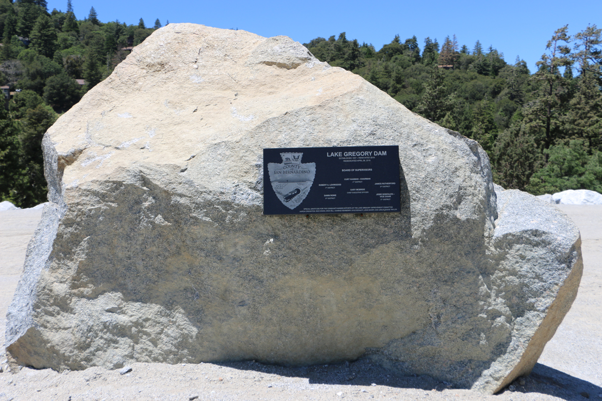 Lake Gregory dam plaque