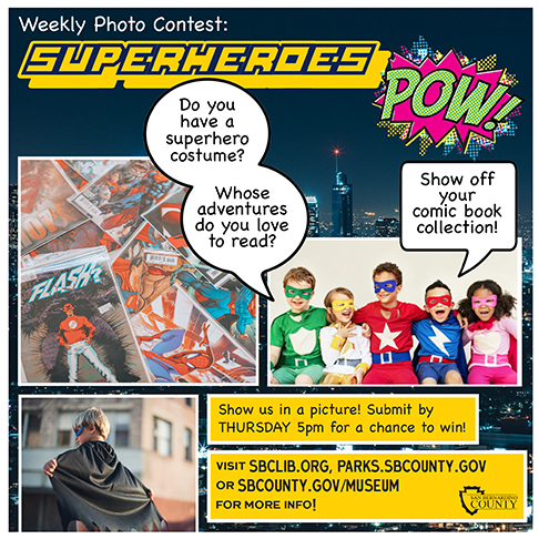 Super hero theme graphic with comic strip illustrations of superheroes on left. On right is pictured little kids in superhero costumes with bubbles over heads. On left bottom is a little boy with a black cape looking away from camera.