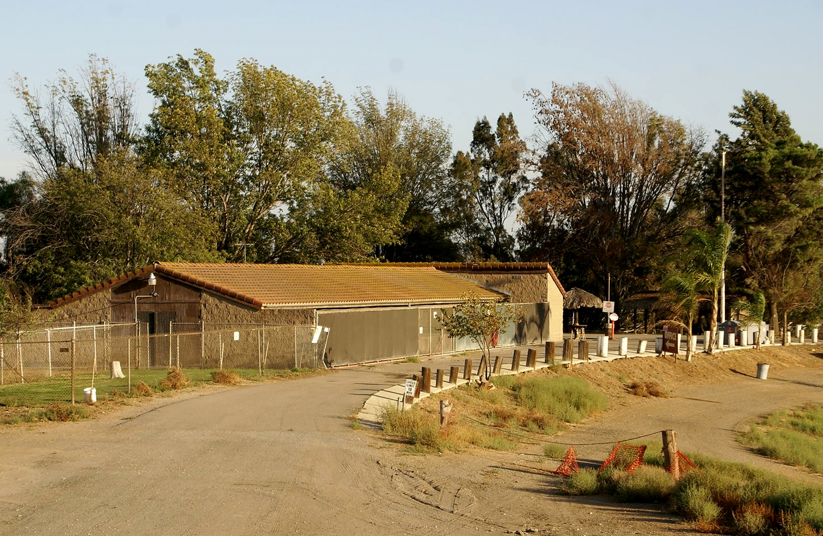 The Prado dog park facility office building.