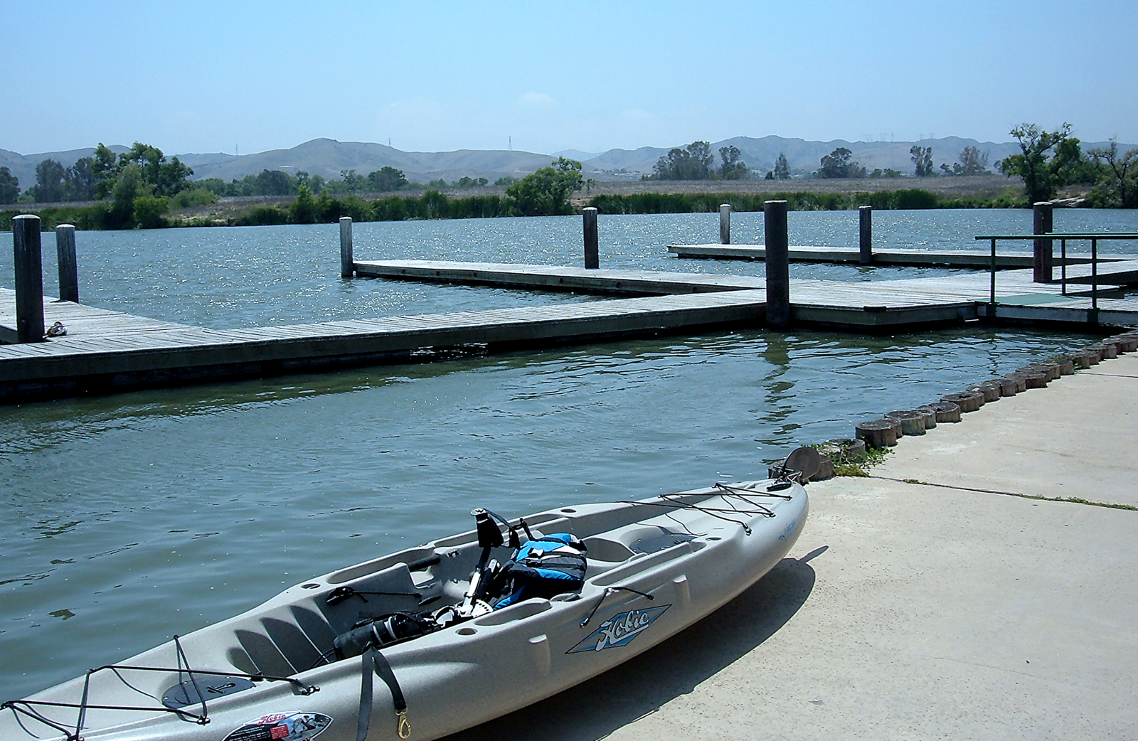 Prado Lake with kayak near the water dock.p.