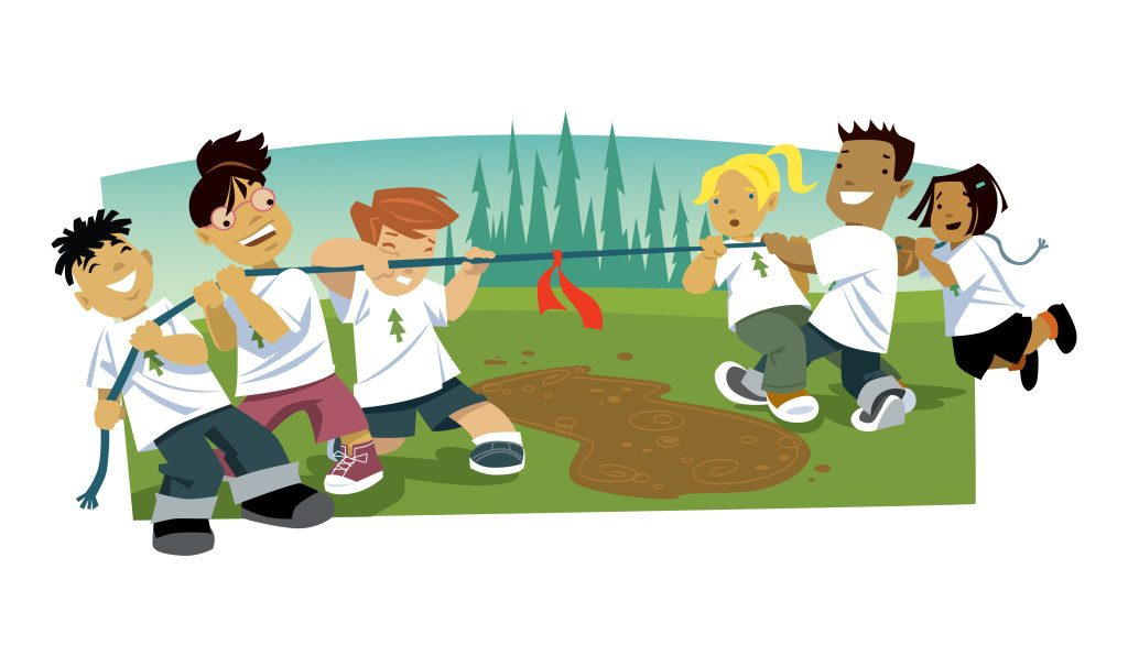 kids tug-o-war illustration