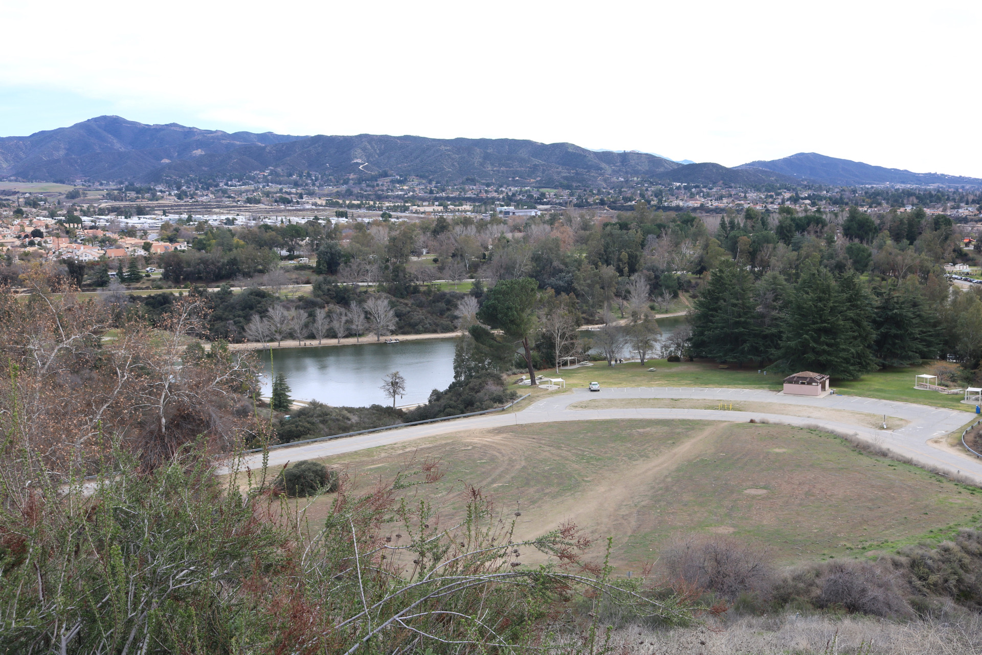 Yucaipa Landscape from the top of a hill over looking lake