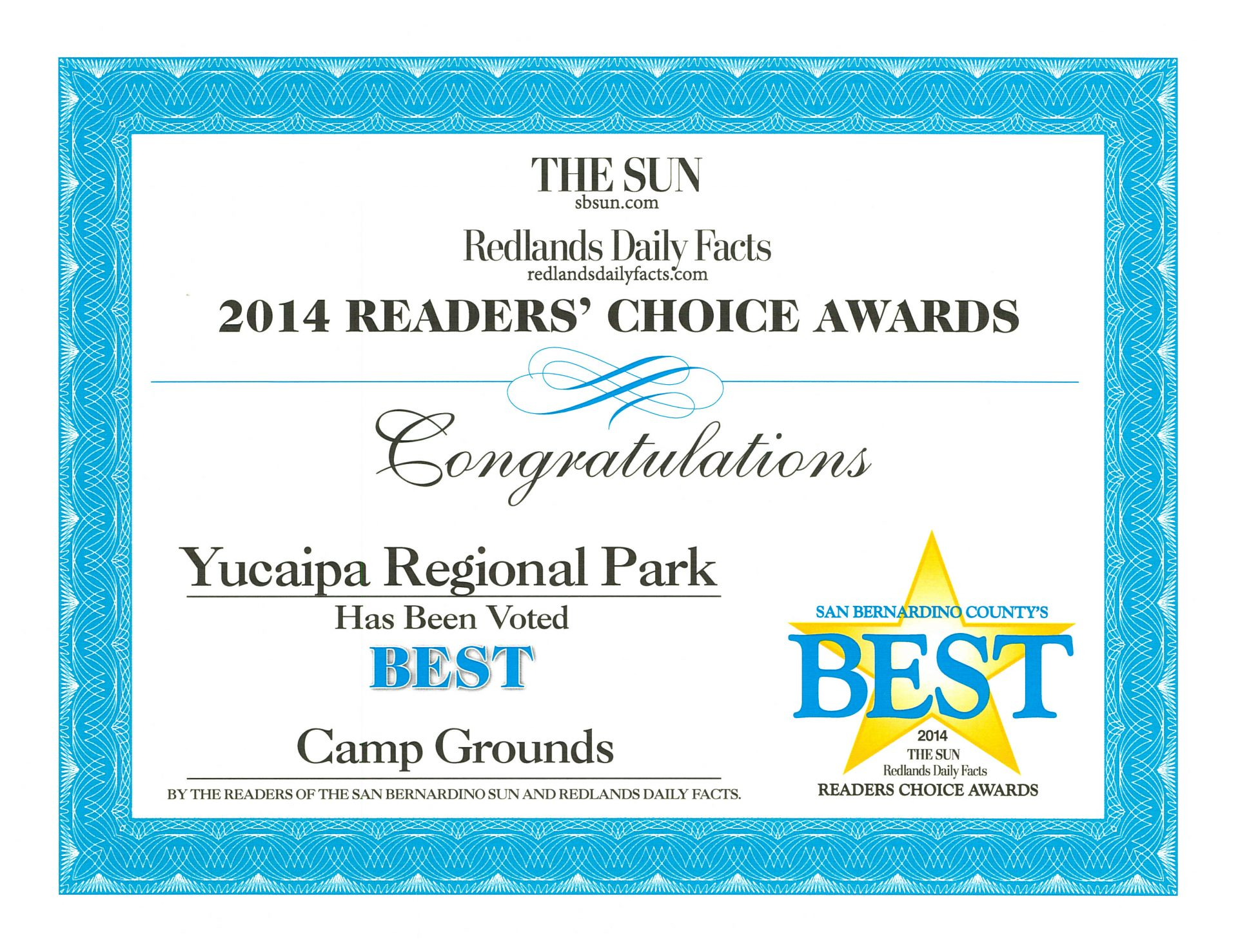 2014 Best Campground award