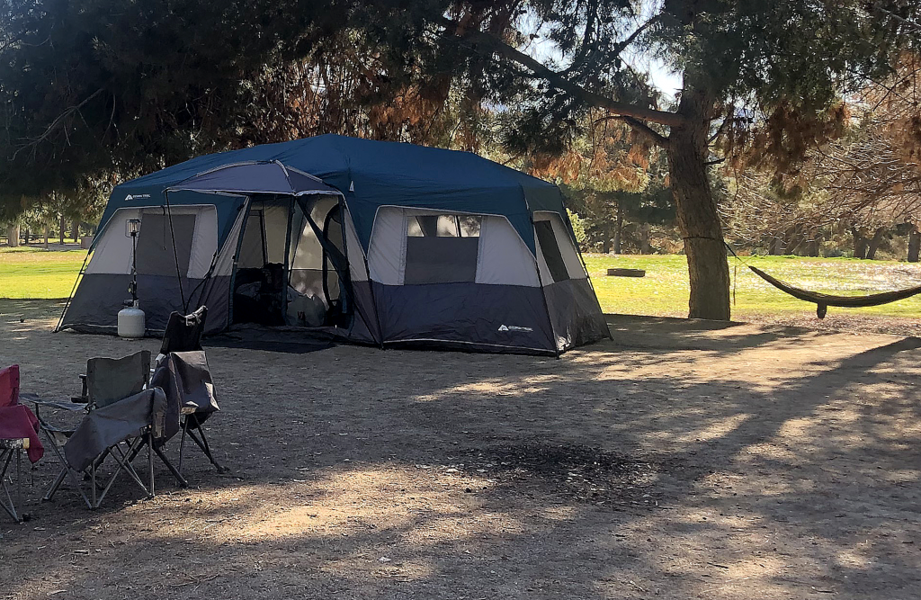Close up of a tent at a campground