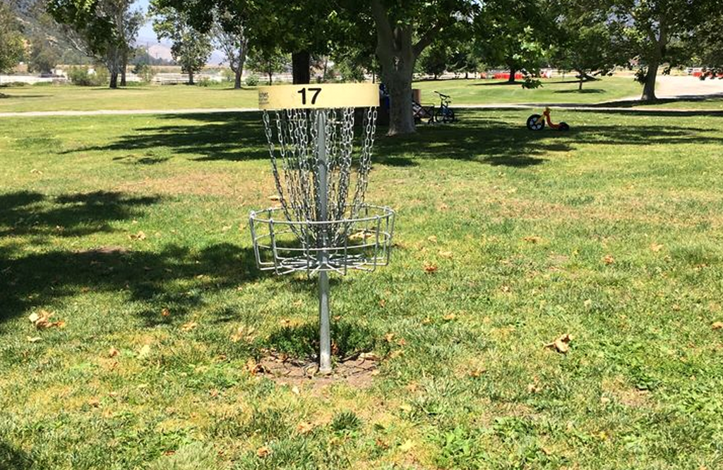 Disc golf goal at glen helen