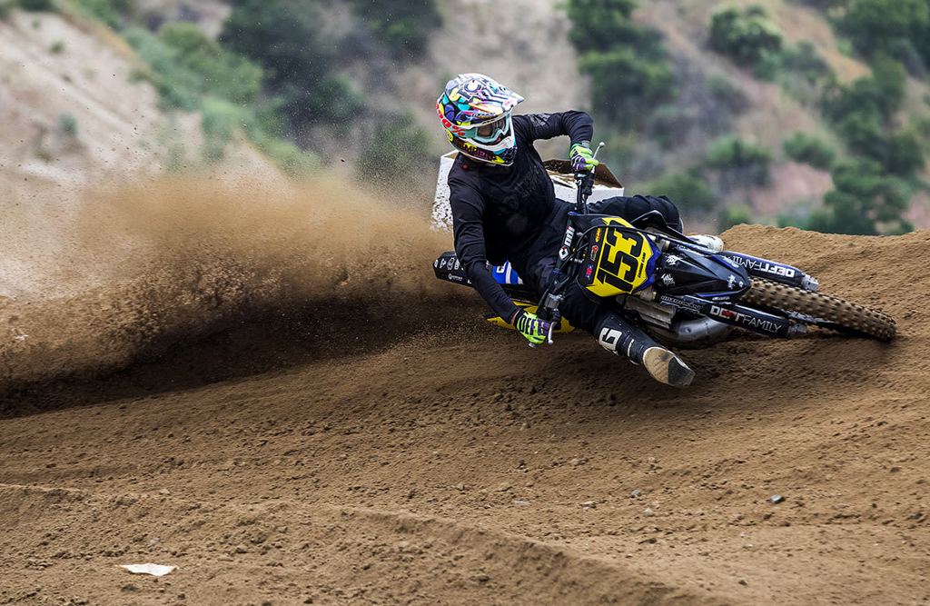 Man riding a dirt bike at Glen Helen