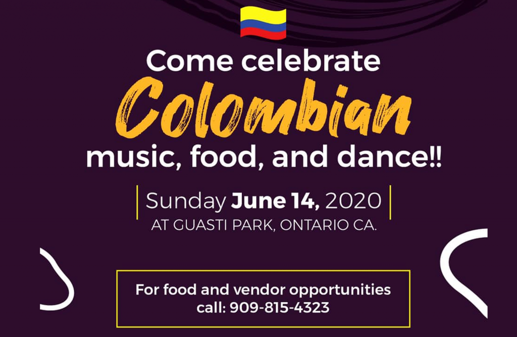 A burgundy graphic with the Colombian flag and the date of the event.