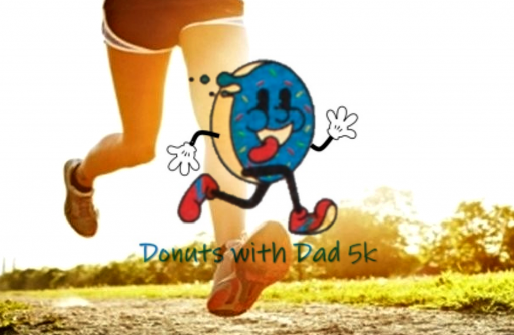 A photo of a young person running with a cartoon doughnut running in front smiling with its tongue hanging out.