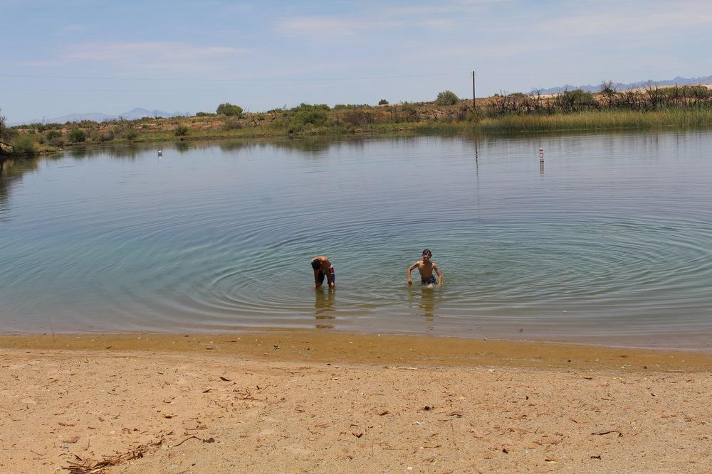kids playing at moabi swimming area