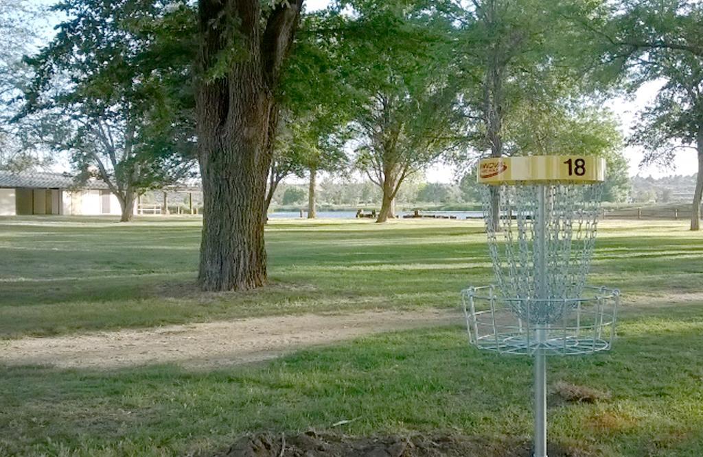 Disc golf goal at mojave narrows