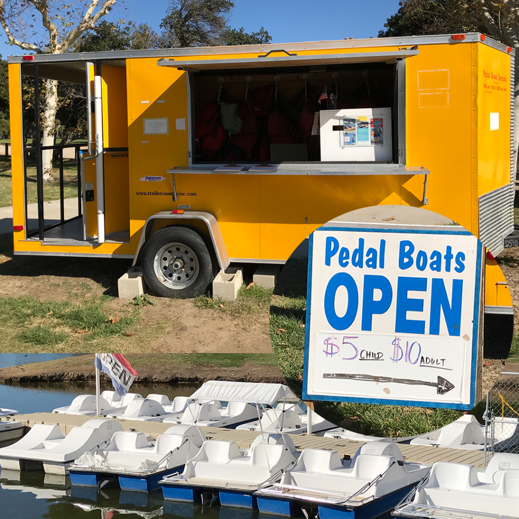 Yellow Vendor Trailor with a $5 open sign for pedal boats