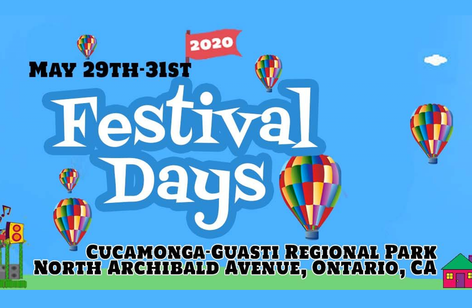 Cartoon graphic of bright colored hot air balloons and kids-type font in Festival Days.