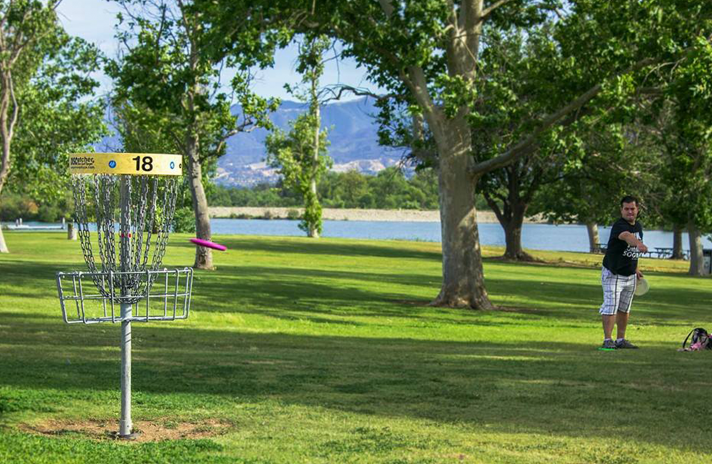 Man throwing Frisbee at disc golf range