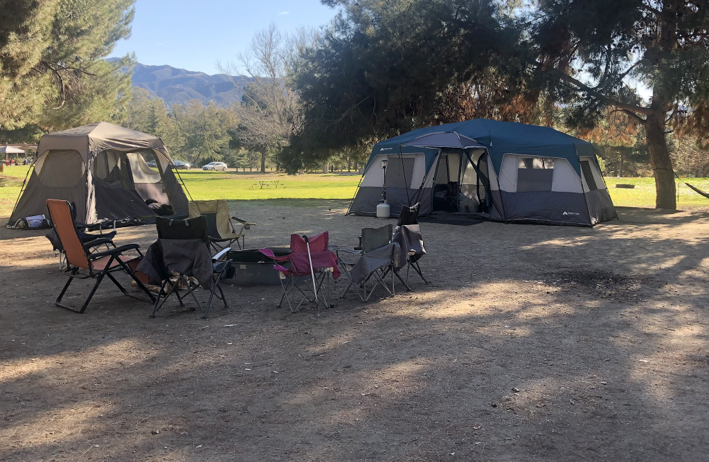 Two tents at a campground