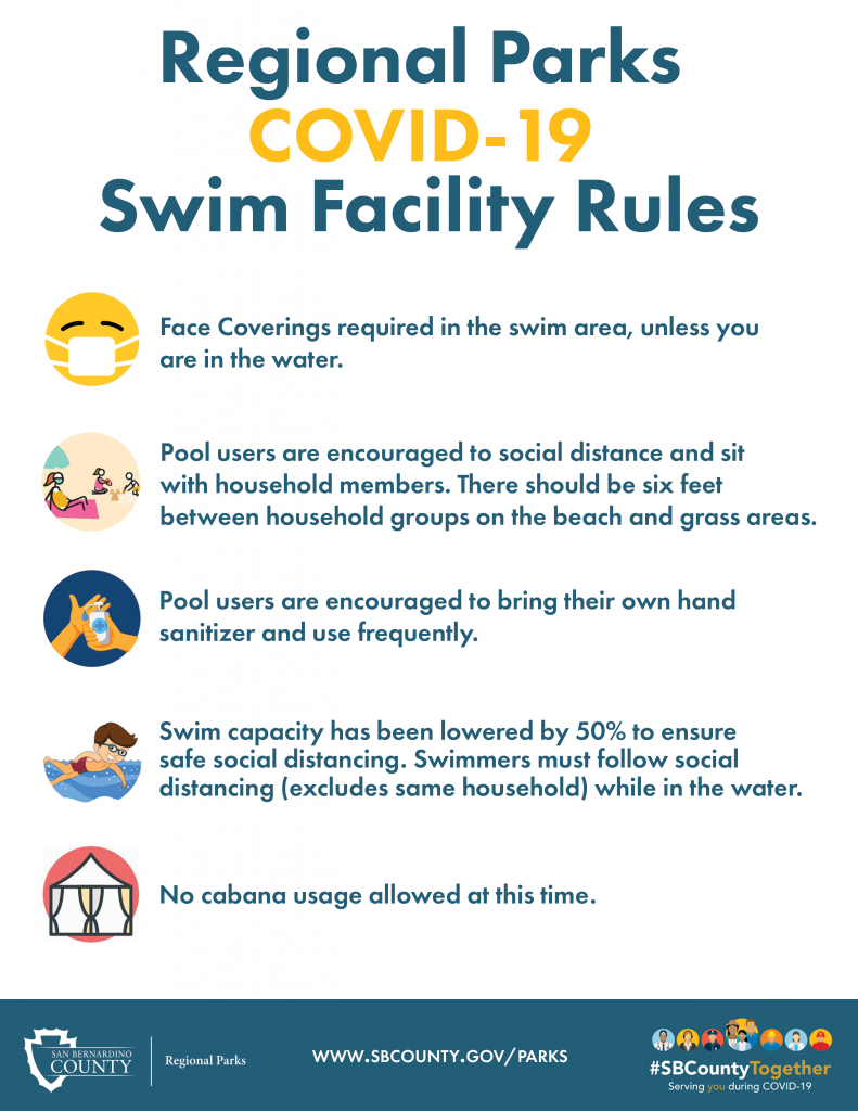 COVID-19 rules for swimming with icons on the left. Wear a mask, social distance, hand sanitizer, boy swimming, cabana.
