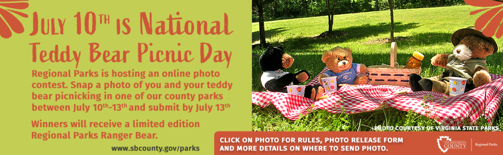 A photo of three teddy bears in a park sitting on a a red checkered picnic blanket with a basket between them and each one has a paper cup in front of them as if they are picnicking in the park. On the left is a headline thgat says July 10th is National Teddy bear Picnic Day. Below is the wording Regional Parks is hosting an online photo contest. Snap a photo of you and your teddy bear picnicking in one of our county parks between July 10-13th and submit by July 13. Winners will receive a limited ediction Regional Parks Ranger Bear. Submit photo to events@parks.sbcounty.gov and fill out the attached photo release.
