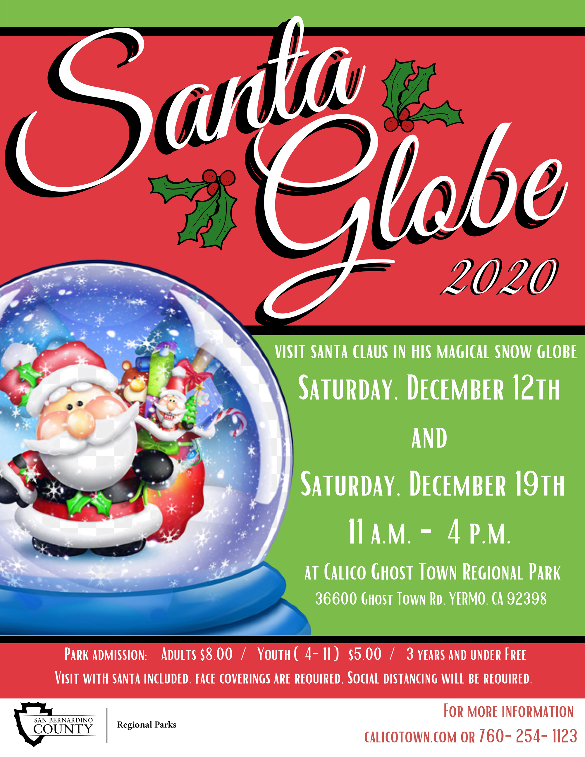 A cartoon illustration of Santa Claus in a snow globe with red and green ckground and text on the right with dates.