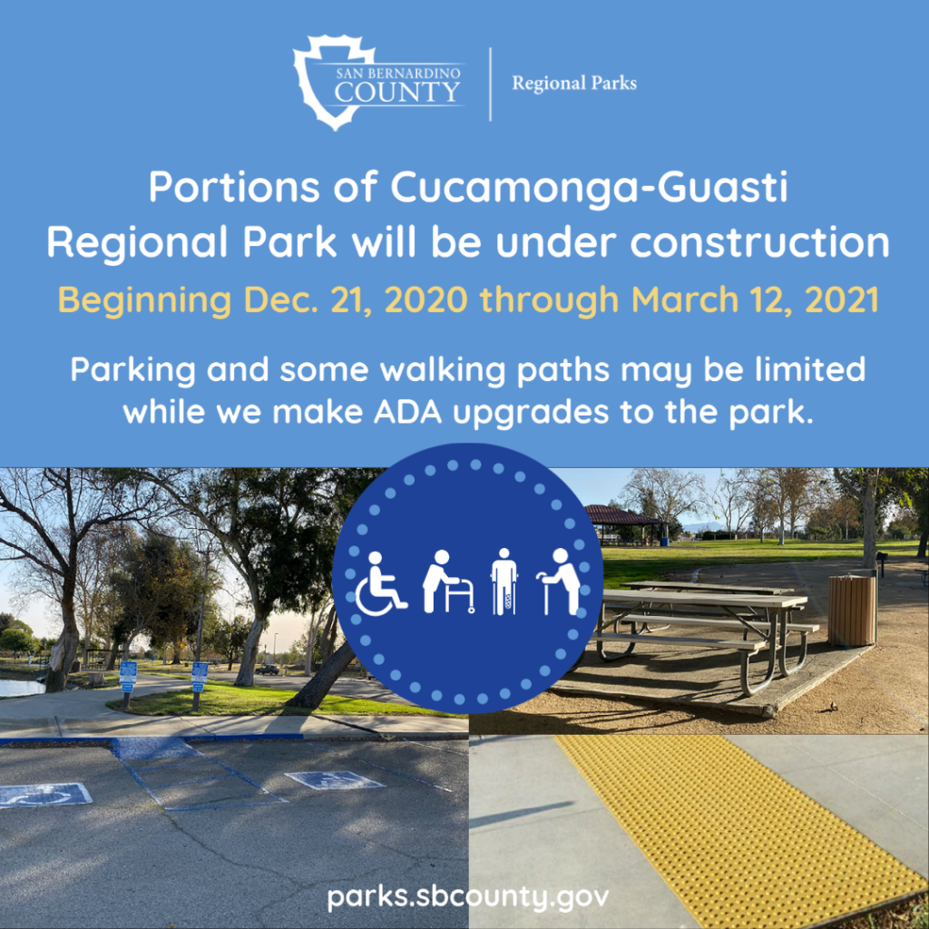 Portions of Cucamonga-Giasti Regional Park will be under construction beginning Dec. 21, 2020 through March 12, 2021. Parking and some paths may be limited while we make ADA upgrades to the park. Photo of the park parking lot disability parking stalls on the left and a picnic table upper right and a truncated dome mats.